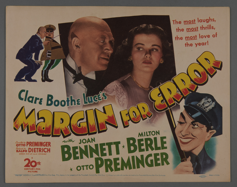 """2018.590.97.1 front Set of three lobby cards for the film """"Margin for Error"""" (1943)"""