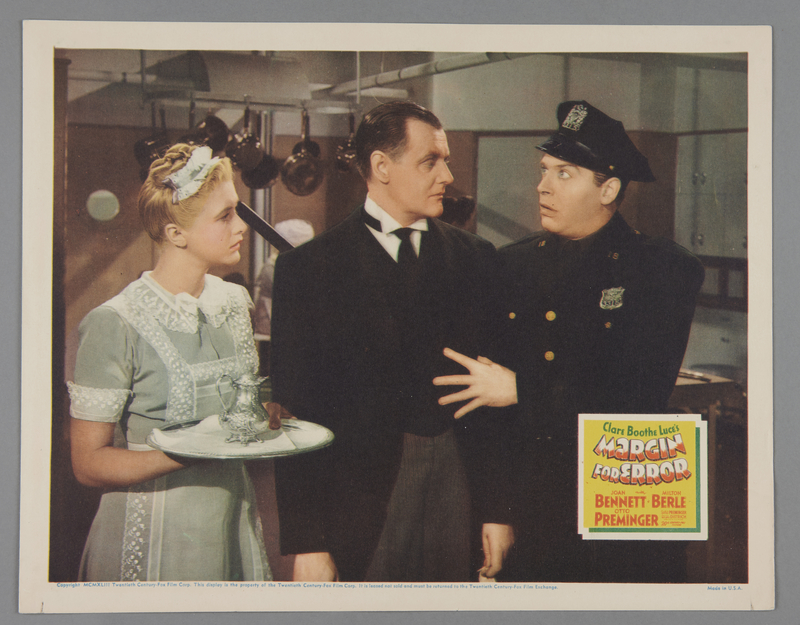 """2018.590.97.2 front Set of three lobby cards for the film """"Margin for Error"""" (1943)"""