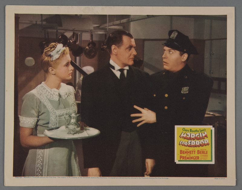 """2018.590.97.3 front Set of three lobby cards for the film """"Margin for Error"""" (1943)"""