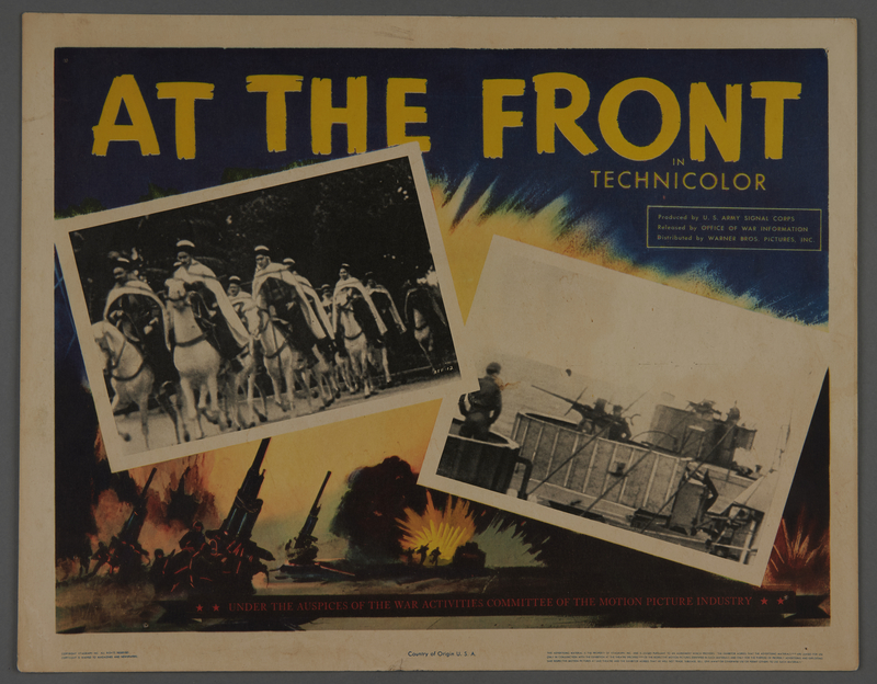 """2018.590.98 front Lobby card for the film """"At the Front in North Africa"""" (1943)"""