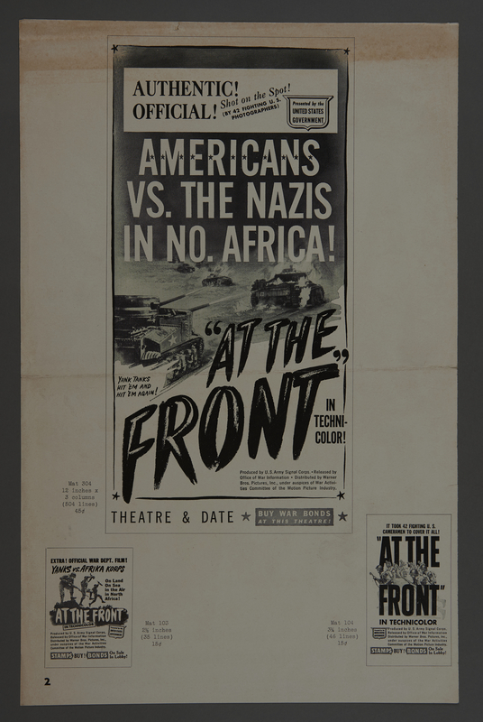 """2018.590.99 back Pressbook cover for the film """"At the Front in North Africa"""" (1943)"""