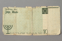 2019.181.3 back 10 mark Łódź ghetto scrip note  Click to enlarge