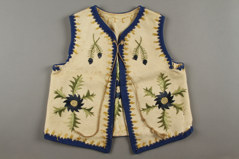 2019.302.2 front Hand-embroidered child's vest made by a Polish Jewish woman