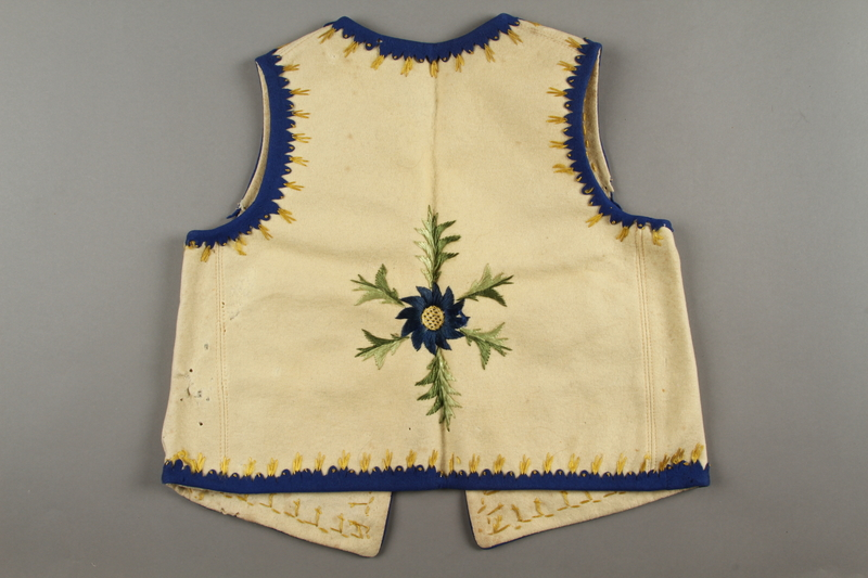 2019.302.2 back Hand-embroidered child's vest made by a Polish Jewish woman