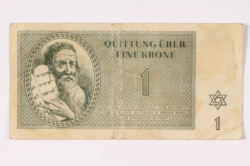 1992.62.1 front Theresienstadt ghetto-labor camp scrip, 1 krone note