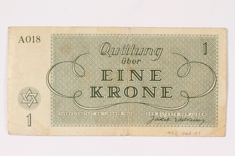 1992.62.1 back Theresienstadt ghetto-labor camp scrip, 1 krone note