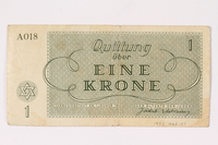1992.62.1 back Theresienstadt ghetto-labor camp scrip, 1 krone note  Click to enlarge