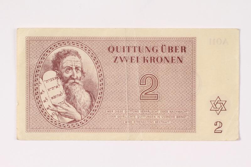 1992.62.2 front Theresienstadt ghetto-labor camp scrip, 2 kronen note
