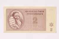 1992.62.2 front Theresienstadt ghetto-labor camp scrip, 2 kronen note  Click to enlarge