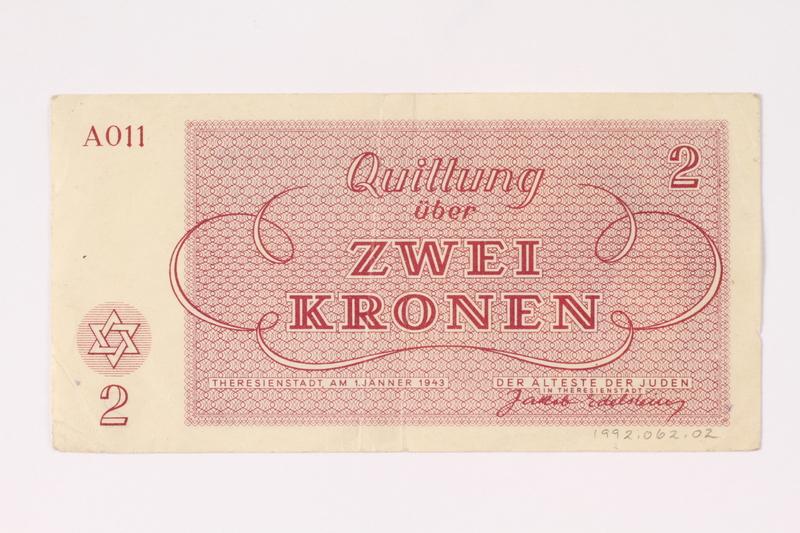 1992.62.2 back Theresienstadt ghetto-labor camp scrip, 2 kronen note