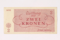 1992.62.2 back Theresienstadt ghetto-labor camp scrip, 2 kronen note  Click to enlarge