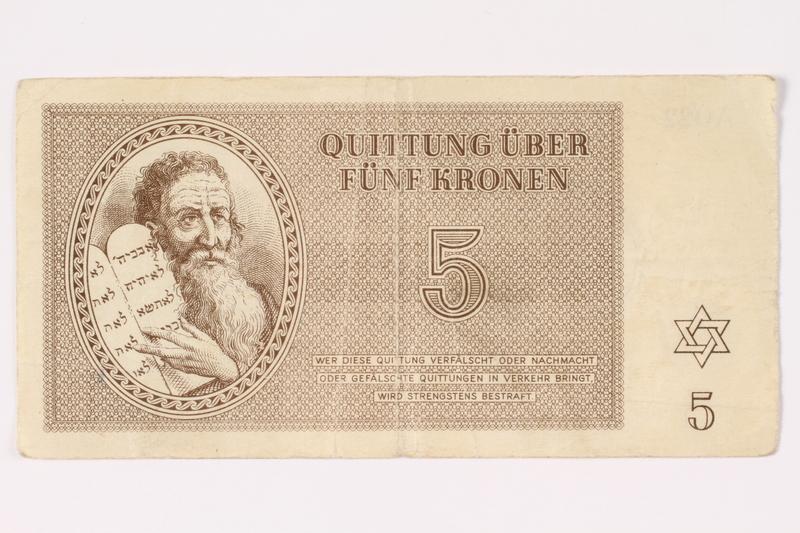 1992.62.3 front Theresienstadt ghetto-labor camp scrip, 5 kronen note