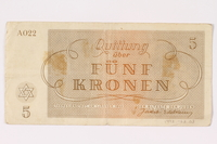 1992.62.3 back Theresienstadt ghetto-labor camp scrip, 5 kronen note  Click to enlarge