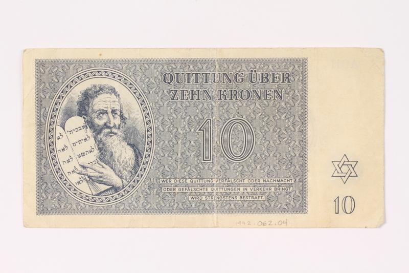1992.62.4 front Theresienstadt ghetto-labor camp scrip, 10 kronen note