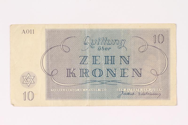 1992.62.4 back Theresienstadt ghetto-labor camp scrip, 10 kronen note