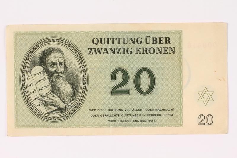 1992.62.5 front Theresienstadt ghetto-labor camp scrip, 20 kronen note