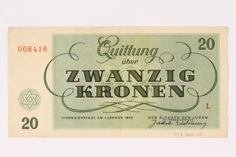 1992.62.5 back Theresienstadt ghetto-labor camp scrip, 20 kronen note