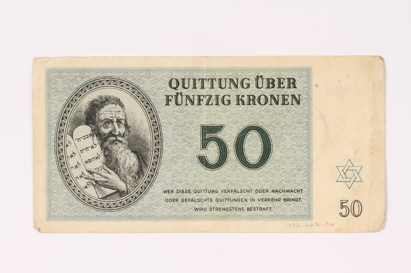 1992.62.6 front Theresienstadt ghetto-labor camp scrip, 50 kronen note