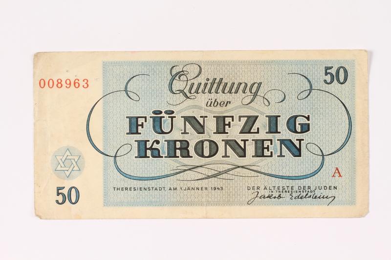 1992.62.6 back Theresienstadt ghetto-labor camp scrip, 50 kronen note
