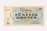 1992.62.6 back Theresienstadt ghetto-labor camp scrip, 50 kronen note  Click to enlarge