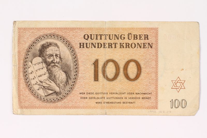 1992.62.7 front Theresienstadt ghetto-labor camp scrip, 100 kronen note