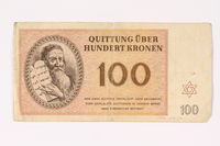 1992.62.7 front Theresienstadt ghetto-labor camp scrip, 100 kronen note  Click to enlarge