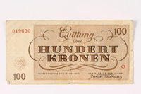 1992.62.7 back Theresienstadt ghetto-labor camp scrip, 100 kronen note  Click to enlarge