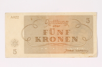 1992.64.2 back Theresienstadt ghetto-labor camp scrip, 5 kronen note  Click to enlarge
