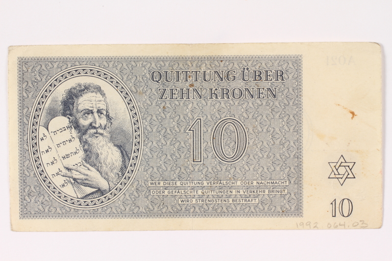1992.64.3 front Theresienstadt ghetto-labor camp scrip, 10 kronen note