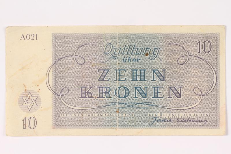 1992.64.3 back Theresienstadt ghetto-labor camp scrip, 10 kronen note