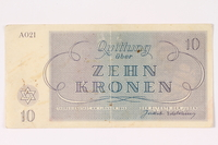 1992.64.3 back Theresienstadt ghetto-labor camp scrip, 10 kronen note  Click to enlarge
