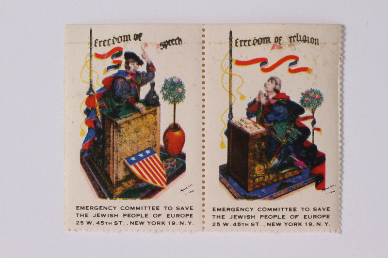 1992.66.5 front Half a set of US poster stamps depicting the Four Freedoms