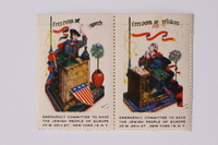 1992.66.5 front Half a set of US poster stamps depicting the Four Freedoms  Click to enlarge