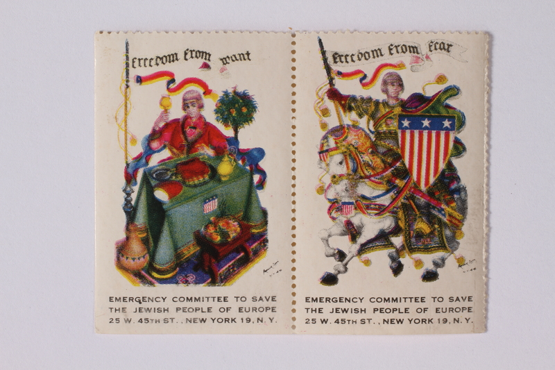 1992.66.6 front Half a set of US poster stamps depicting the Four Freedoms