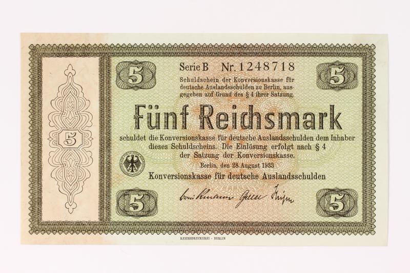 1992.68.1 front German Konversionskasse scrip, 5 Reichsmark note