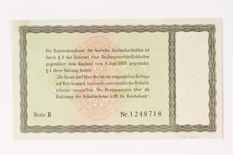 1992.68.1 back German Konversionskasse scrip, 5 Reichsmark note
