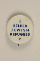 1992.68.2 front Button pin advertising humanitarian support  Click to enlarge