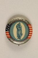 1992.68.3 front Button pin calling for humanitarian support  Click to enlarge