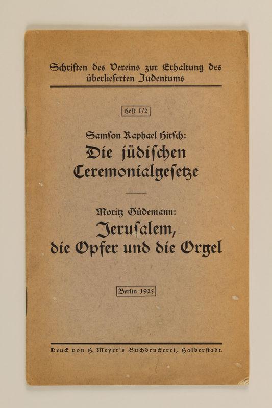 1992.8.15_b front Universal=Ugende für jüdische Kultusbeamte : Handbuch für den Gebrauch in Synagoge, Schule und Haus / Lion Wolff