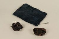 1992.8.18_a-c front Pair of tefillin with blue velvet bag used by a Jewish refugee  Click to enlarge