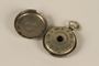 Circular silver 12 tone pocket watch style pitch pipe and case used by a cantor