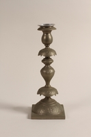 1992.8.28 c-d front Pair of Sabbath candlesticks with wax reservoirs owned by a Jewish refugee  Click to enlarge