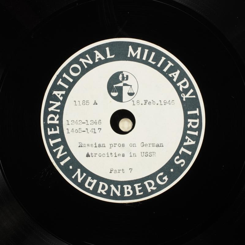 Day 61 International Military Tribunal, Nuremberg (Set A)