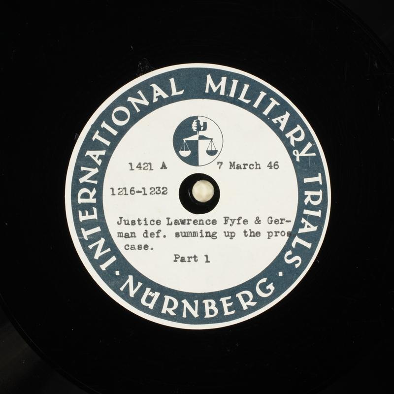 Day 76 International Military Tribunal, Nuremberg (Set A)