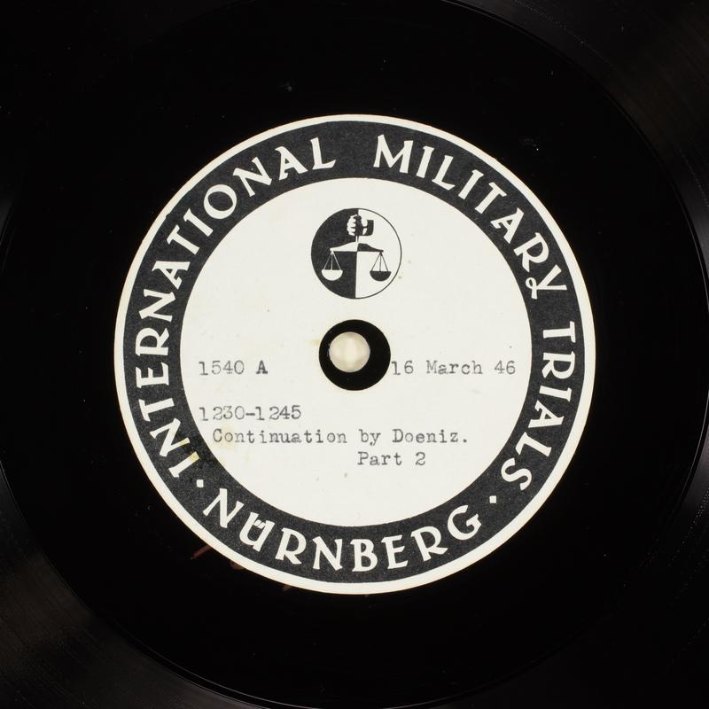 Day 83 International Military Tribunal, Nuremberg (Set A)