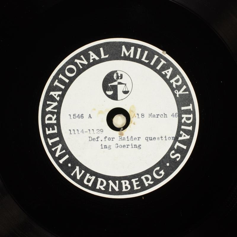 Day 84 International Military Tribunal, Nuremberg (Set A)