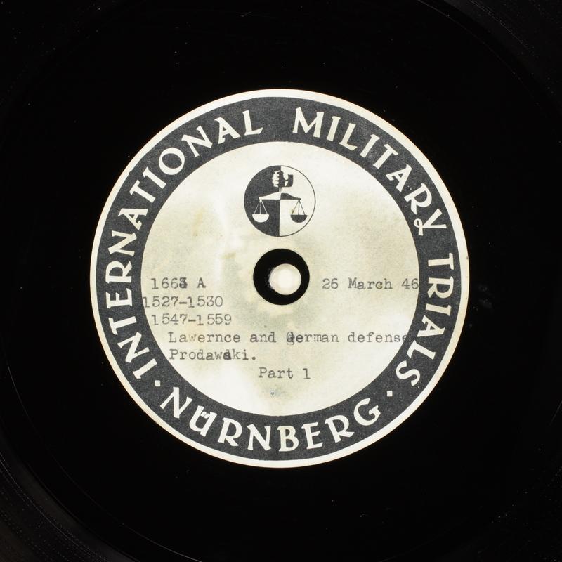 Day 91 International Military Tribunal, Nuremberg (Set A)