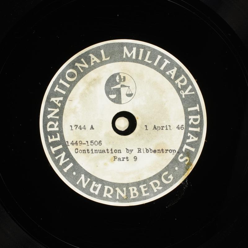 Day 96 International Military Tribunal, Nuremberg (Set A)