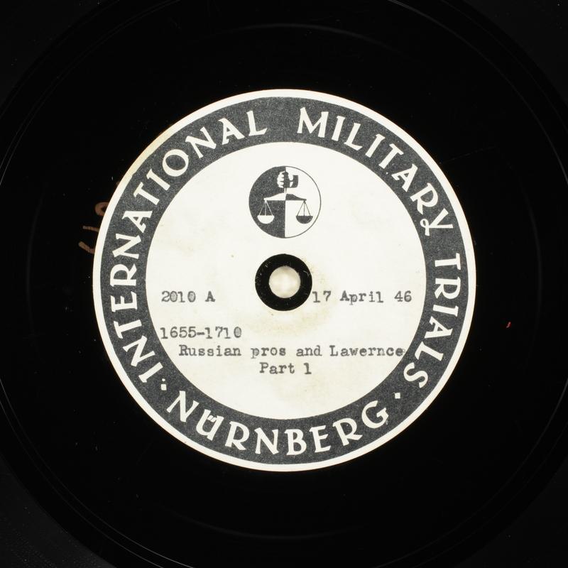 Day 110 International Military Tribunal, Nuremberg (Set A)
