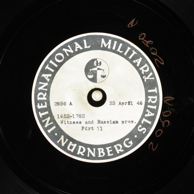 Day 112 International Military Tribunal, Nuremberg (Set A)